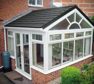 Slate conservatory roof in gable style