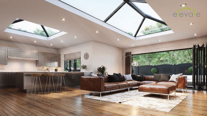Elevate lantern roof in Black internal view